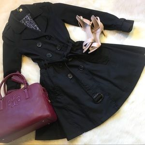 H&M Black Trench Coat with Flared Skirt Size 6
